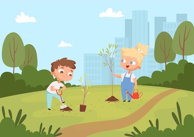 Dzieci sadzenie tła. naturalne ekologiczne warunki pogodowe dla dzieci chroniące środowisko edukacja ogrodnicza.