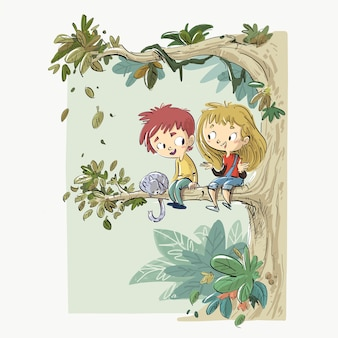 Dzieci siedzą na drzewie z kotem