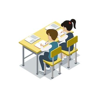 Dzieci siedzą przy biurku izometrycznej ilustracji