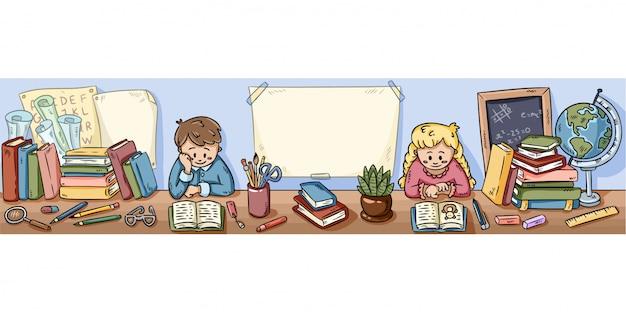 Dzieci siedzą przy szkolnej bibliotece i czytelniczych książkach
