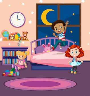 Dzieci skaczą na łóżku
