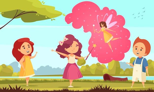 Dzieci śniące bajkową kompozycję z plenerowym krajobrazem i grupą dzieci z magicznymi bąbelkami myśli