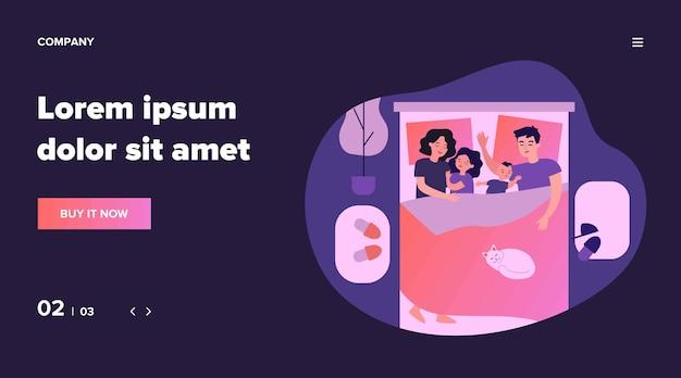 Dzieci śpią w łóżku rodziców. szczęśliwa mama i tata leżący i przytulający śpiące dzieci. rodzina razem drzemiąca. ilustracja miłości, współspania z koncepcją dziecka