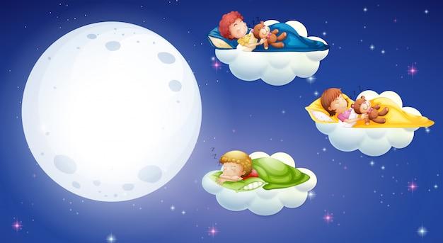 Dzieci śpiące w nocy
