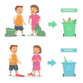 Dzieci sprzątają i wyrzucają śmieci do odpowiedniej koncepcji kosza na śmieci