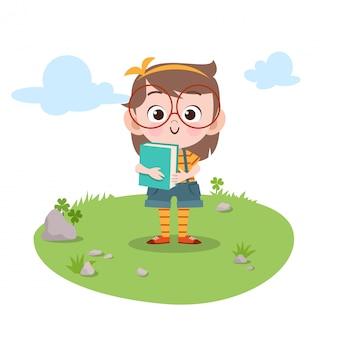 Dzieci studiują książkę ilustracji wektorowych