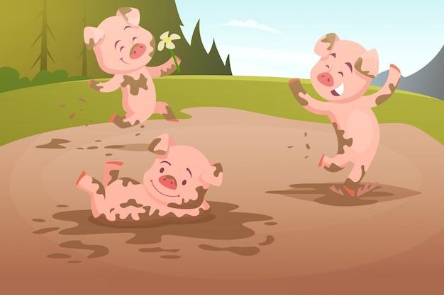 Dzieci świń grających w brudnej kałuży