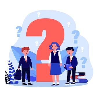 Dzieci szukają odpowiedzi lub pytań w płaskiej konstrukcji