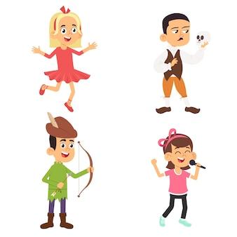 Dzieci teatralne. dzieci wykonujące na szkolnej scenie zabawne postacie aktorzy teatralni w pozach akcji