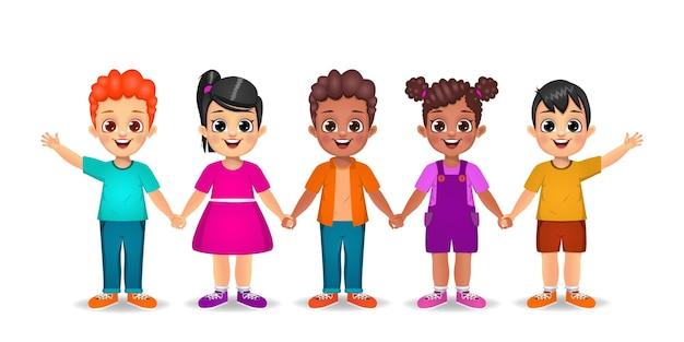 Dzieci trzymając się za ręce razem
