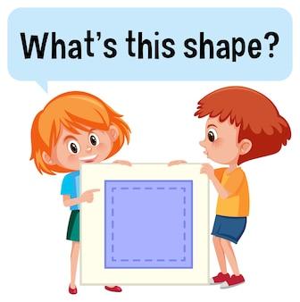 Dzieci trzymające baner w kształcie kwadratu z czcionką co to za kształt
