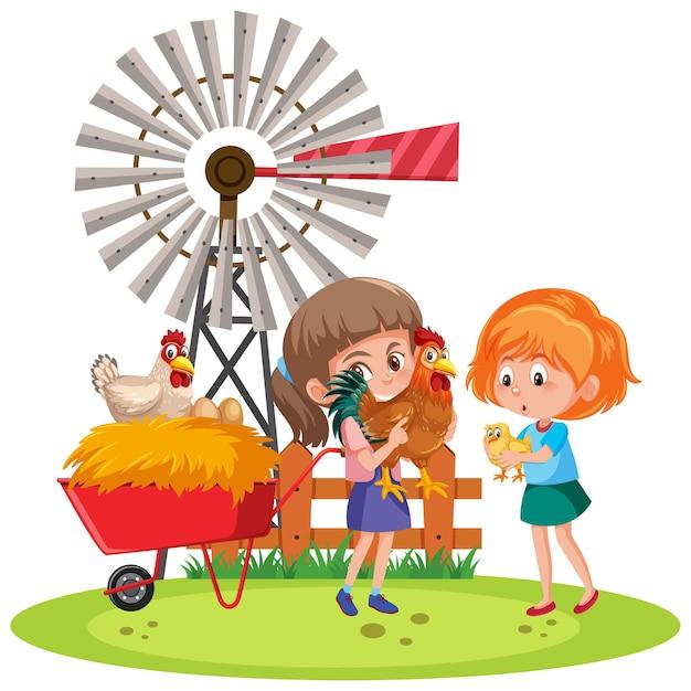 Dzieci trzymające kurczaka z elementami gospodarstwa