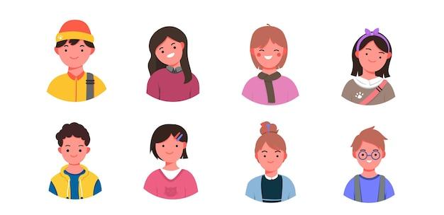 Dzieci twarze awatary wektor dzieci twarz ikony prosty profil ilustracja portrety kolekcja