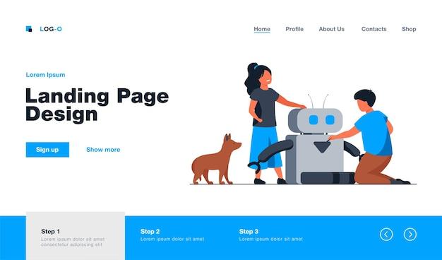 Dzieci tworzące lub korzystające z robota. pies, maszyna do karmienia zwierząt domowych, dzieci. płaska ilustracja