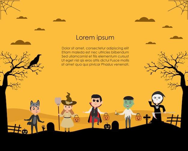 Dzieci ubrane w fantazyjne stroje na halloween na cukierek albo psikus