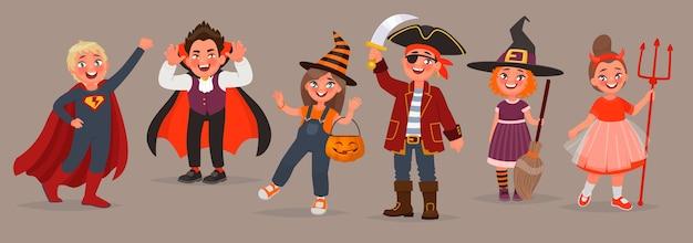 Dzieci ubrane w kostiumy na halloween. cukierek albo psikus. chłopcy i dziewczęta obchodzą święto. element projektu. ilustracja wektorowa w stylu cartoon