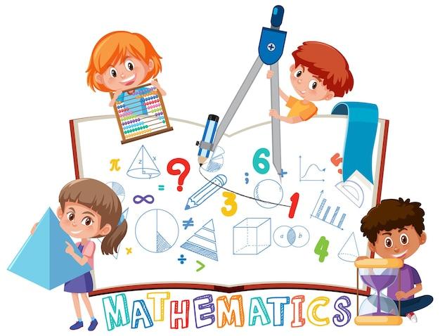 Dzieci uczą się matematyki z narzędziami na książce na białym tle