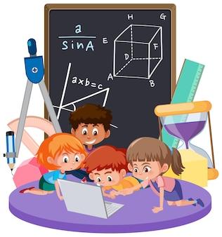 Dzieci uczą się matematyki z symbolem matematyki i ikoną