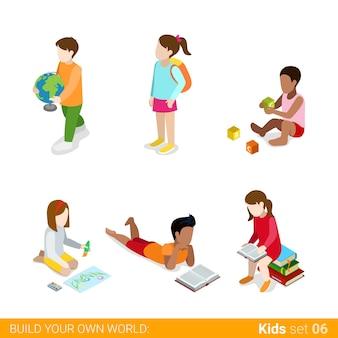 Dzieci uczą się studiować, robić zajęcia domowe zestaw ikon koncepcja infografika sieci web.