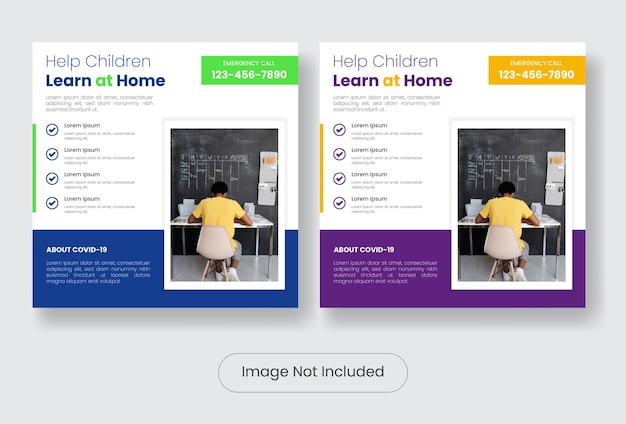 Dzieci uczą się w domu podczas zestawu szablonów banerów postów w mediach społecznościowych covid19