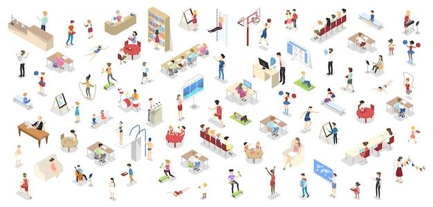 Dzieci uczą się w zestawie szkolnym. ludzie w bibliotece, siłowni, sali wykładowej i klasie rysunku. dzieci uczące się w klasie. ilustracja na białym tle izometryczny wektor
