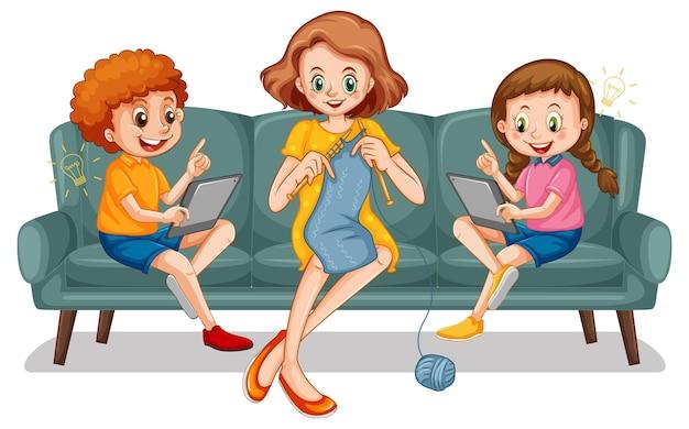 Dzieci uczące się w domu na urządzeniu elektronicznym