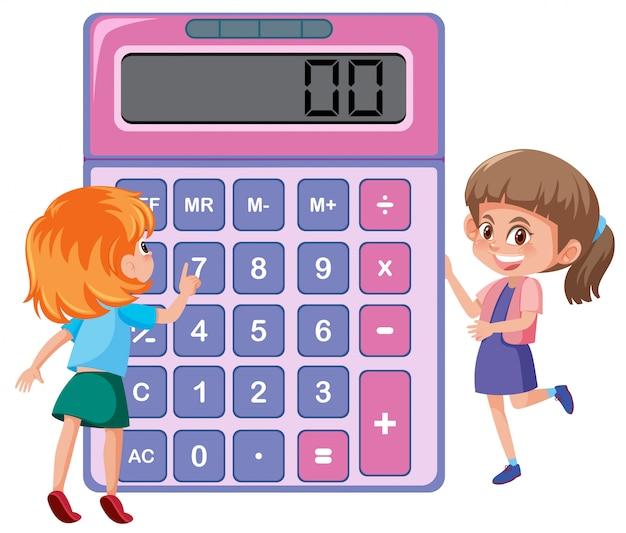 Dzieci uczące się z kalkulatorem