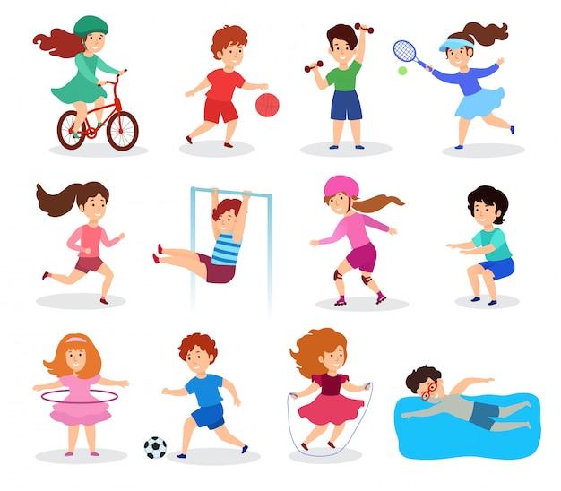 Dzieci uprawiają sport, ilustracja, płaski. postacie dzieci, na białym tle, uprawiające różne sporty, aktywność fizyczną i zabawę. sekcje sportowca dla chłopców i dziewcząt