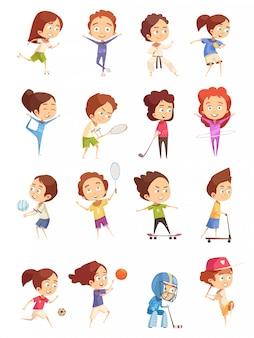Dzieci uprawiają zestaw sportowy