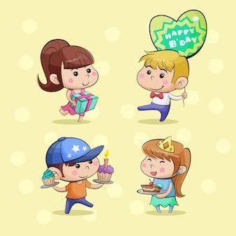 Dzieci urodziny ilustracja kreskówka postać