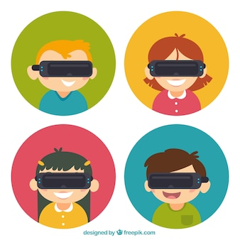 Dzieci ustawione wirtualnych okularów rzeczywistości