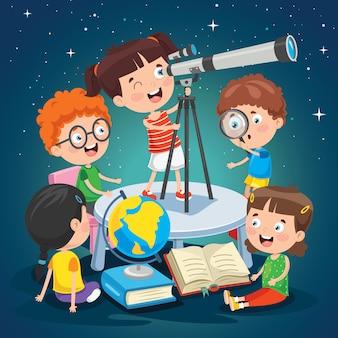 Dzieci używające teleskopu do badań astronomicznych