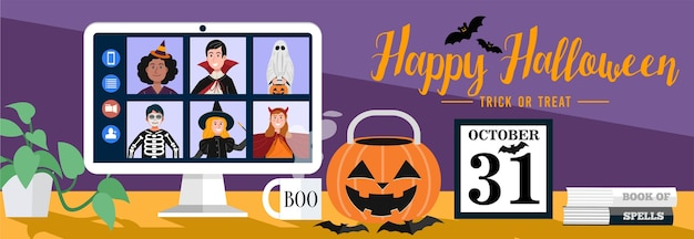Dzieci w halloween ubierają spotkania wideo w domu. wektor