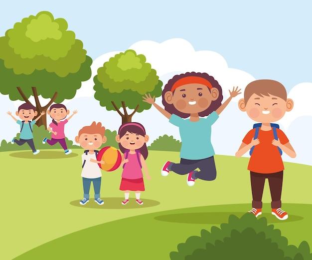 Dzieci w ilustracji naturalnego krajobrazu