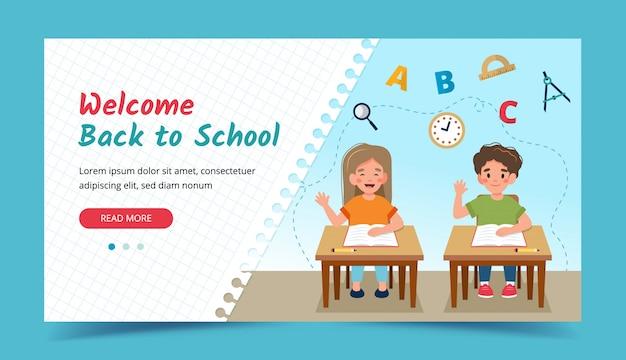Dzieci w klasie przy ławkach, powrót do koncepcji szkoły. szablon banera lub strony docelowej.