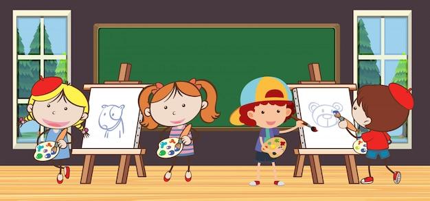 Dzieci w klasie rysunku w szkole