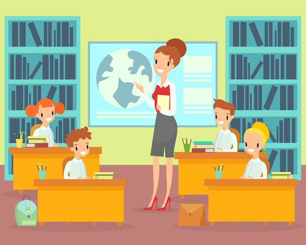 Dzieci w klasie z nauczycielem. nauczycielka, uczniowie szkoły podstawowej, szczęśliwe dzieci
