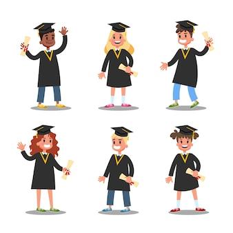 Dzieci w komplecie czarnej sukni ukończenia szkoły. idea edukacji i osiągnięcia. uroczystość ukończenia szkoły. ilustracja