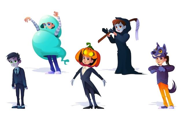 Dzieci w kostiumach halloweenowych potworów upiorny zestaw