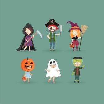 Dzieci W Kostiumach Na Halloween Zabawne I Słodkie Dzieci Karnawałowe Zestaw Ilustracji Premium Wektorów