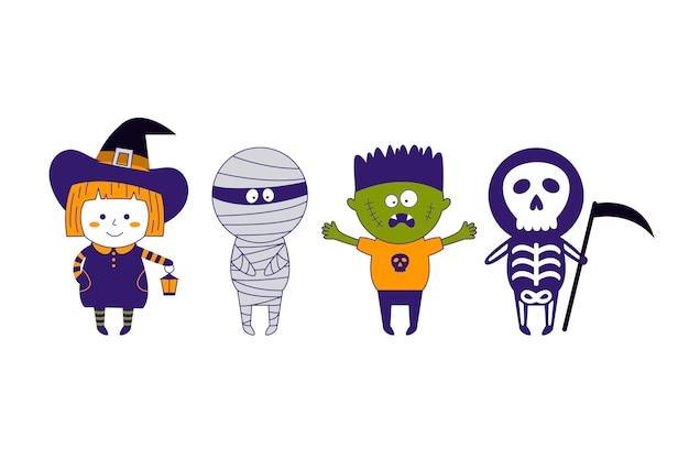 Dzieci w kostiumach na halloween.