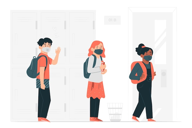 Dzieci w maskach na ilustracji koncepcji szkoły
