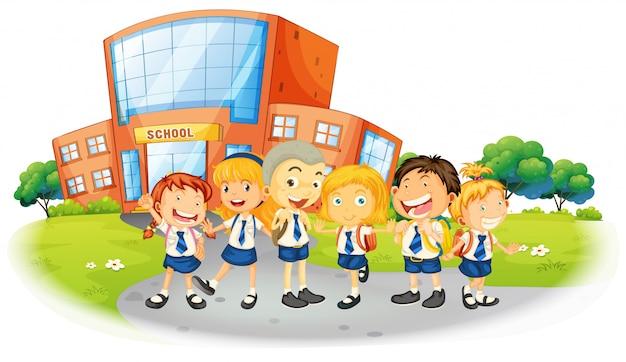 Dzieci w mundurkach szkolnych w szkole