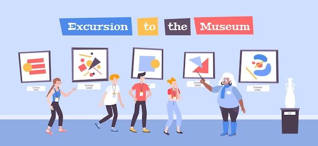 Dzieci w muzealnej szkole artystycznej płaska ilustracja