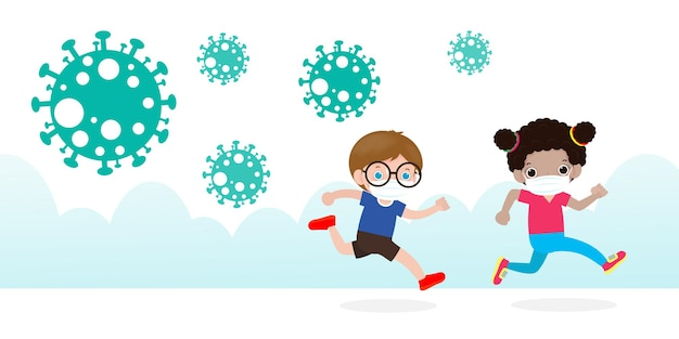 Dzieci w panice uciekają przed cząstkami koronawirusa rozprzestrzeniającymi się na ulicy miasta na białym tle