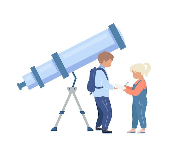 Dzieci w planetarium bez twarzy. dzieci w pobliżu teleskopu. dowiedz się o wszechświecie. wystawa astronomiczna ilustracja kreskówka na białym tle do projektowania grafiki internetowej i animacji