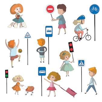 Dzieci w pobliżu różnych znaków drogowych i sygnalizacji świetlnej. ilustracja na białym tle.