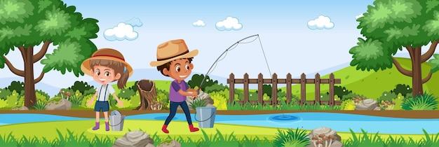 Dzieci w przyrodzie ogród poziomej sceny krajobrazowej w czasie dnia