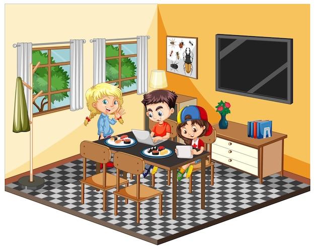 Dzieci w salonie w żółtej scenie tematycznej na białym tle