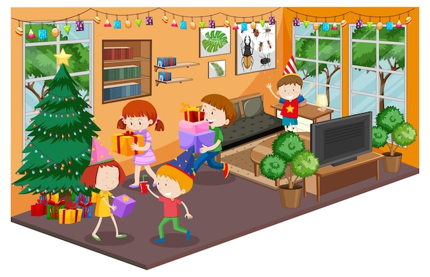 Dzieci w salonie z meblami w tematyce bożonarodzeniowej